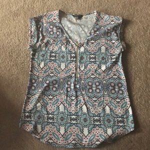 Express women's rolled sleeve zip v-neck top